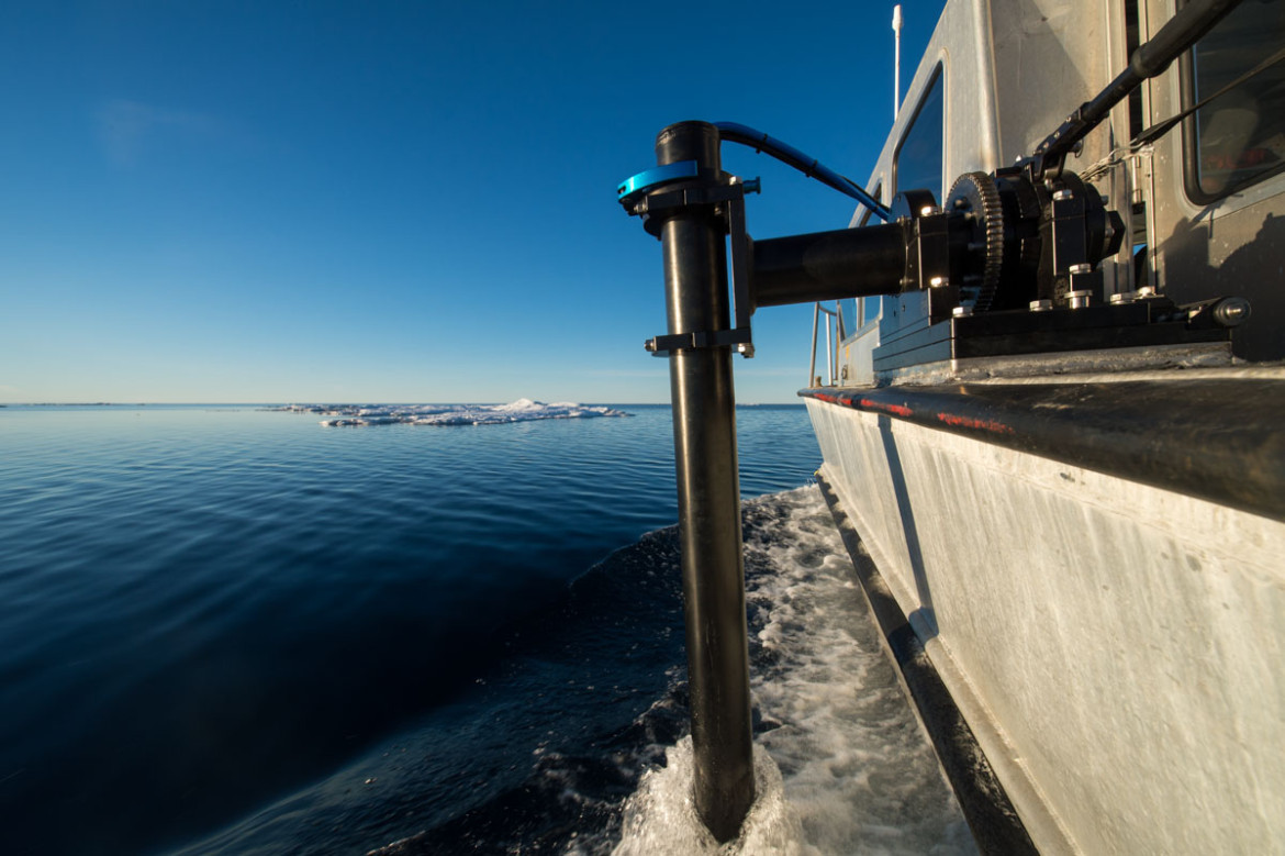 View from the side of RV Investigator's pole mounted multibeam echo sounder.